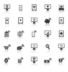 Online banking icons with reflect on white vector