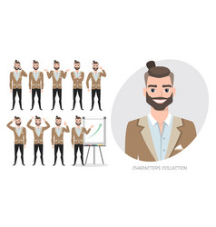 Set of emotions for asian business man vector