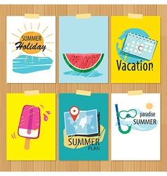 set of hand drawn summer cardsLabel of vacation vector image