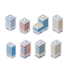 Set of modern isometric buildings vector