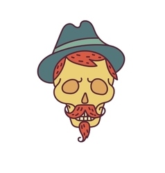 Skull with hipster hairmustachehat and beards vector
