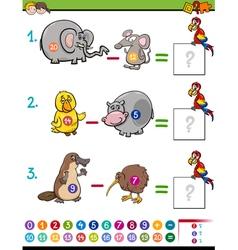Subtraction educational game for kids vector