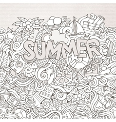 Summer hand lettering and doodles elements vector image vector image