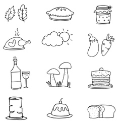 Thanksgiving set on doodles vector