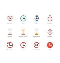 Time and Clock color icons on white background vector image