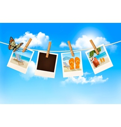 Vacation photos hanging on a rope vector image vector image