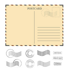 vintage postcard with stamps template set of vector image vector image