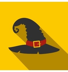 Witch black hat flat vector