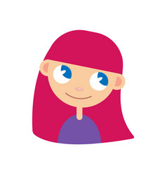 women avatar with pink hair vector image