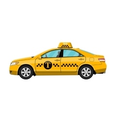Yellow taxi car isolated on white vector