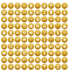 100 car icons set gold vector