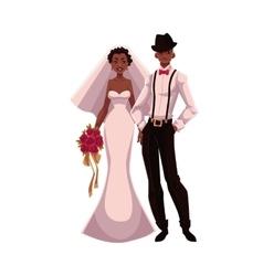 African american just married couple black bride vector