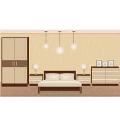 Graceful bedroom interior in warm colors vector