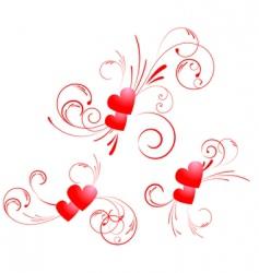 valentine hearts swirl vector image