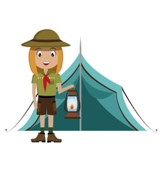 Little scout character with lantern icon vector