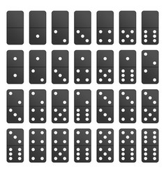 full set black domino pieces vector image