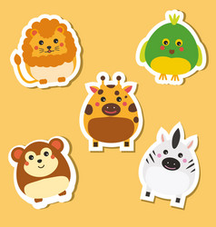 Cute african wild animals stickers set vector