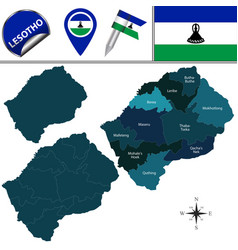 Map of lesotho with named districts vector