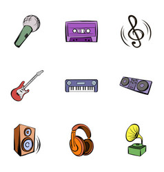Musical instruments icons set cartoon style vector