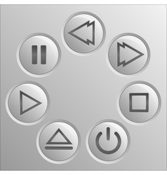 Gray navigation button player set vector