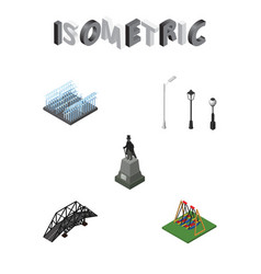 Isometric architecture set of seesaw fountain vector