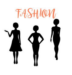 Fashion woman silhouette with different hairstyle vector