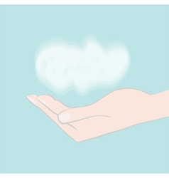 Hand holding cloud vector