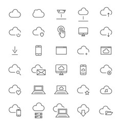30 cloud computing line icons vector image vector image