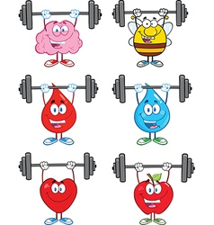 Cartoon characters lifting weights vector