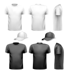 Black and white men t-shirt and cup design vector