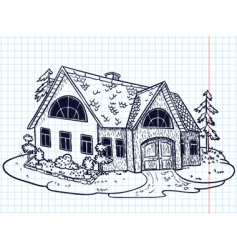 Doodle house vector