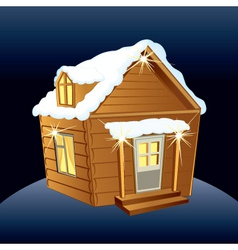 Snowy wooden hut vector