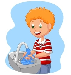 Young boy washing her hands vector