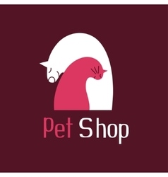 Cat and dog best friends sign for pet shop logo vector