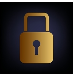 Lock sign golden style icon vector