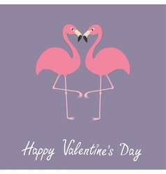 Pink flamingo couple neck heart shape exotic vector