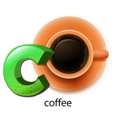A letter c for coffee vector
