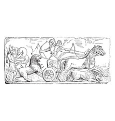 Assyrian hunting bas-relief vintage vector