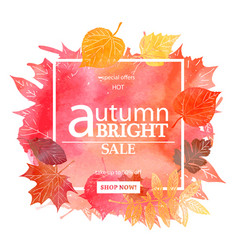 Autumn leaf foliage watercolor vector