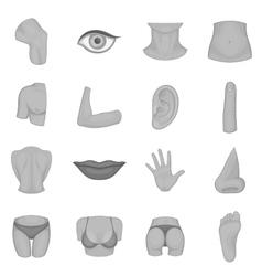 Body parts icons set monochrome style vector