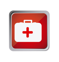 Button with first aid kit with background red vector