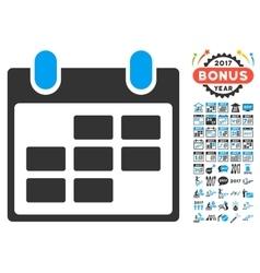 Calendar icon with 2017 year bonus pictograms vector