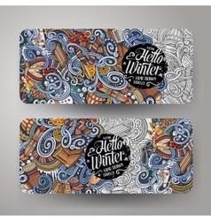 Cartoon doodles winter season banners vector image vector image