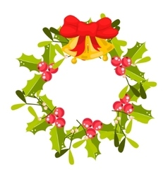 Christmas holly berry wreath icon vector