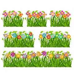 Collection grass and flowers vector image