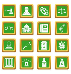 Crime and punishment icons set green vector