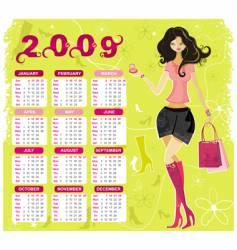 fashion calendar for 2009 vector image vector image