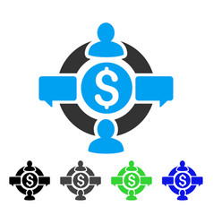 Financial social network flat icon vector