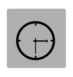 Gray square frame with silhouette clock device vector