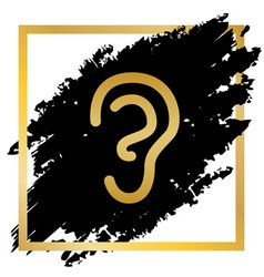Human anatomy ear sign golden icon at vector